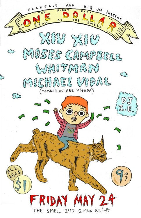 I drew this flier with my friend Chris Payne for my band's show on Friday!  mosescampbell:  THIS FRIDAY we are playing a show for ONE DOLLAR with Xiu Xiu, Whitman, and Michael Vidal.The Smell/9pm/all ages. FUCK YES!facebook event