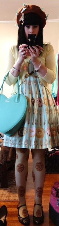 sugarypinkcupcake:  ❤ Emily Temple Cute Donuts & Cutlery ❤ Sorry for the crappy pic again :/ JSK/Cardigan/Shoes/Tights - Emily Temple Cute Necklace - Q-pot Beret - Baby Ribbon Cerise Bag - MILK  <3