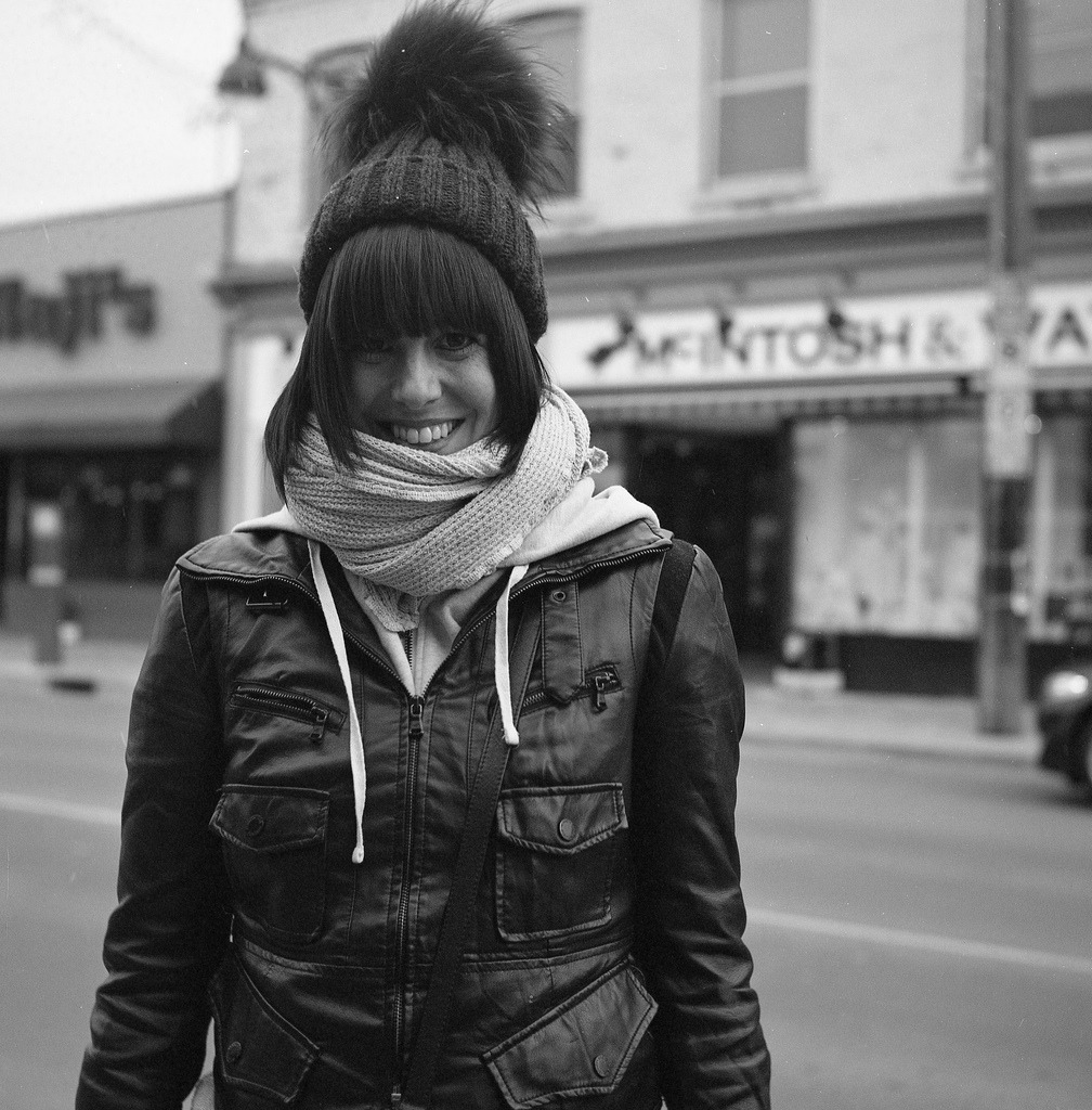 Melissa / Bank Street / Ottawa, ON.Rolleiflex Automat K4A / Ilford XP2 Super 400 / Epson V500.April 2013.