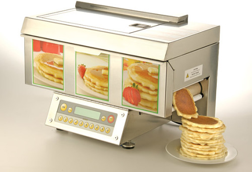"mutations:  synecdoche:  thedailywhat:  Buy This: Automatic Pancake Machine from ChefStack. Spits out a piping-hot 97%-fat-free ""perfect panless pancake"" every 30 seconds. Dreams do come true. [via.]  this would be better if it included bacon but i mostly want it so i could be like, ""where is pancakes house? OH YEAH, MY FUCKING KITCHEN."""