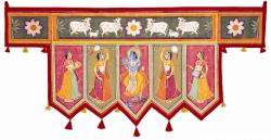 Painted toran from RajasthanKrishna and the gopis and the cows and the loti