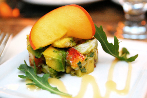 f-word:  dungeness crab salad with avocado and peach photo by kelly bone