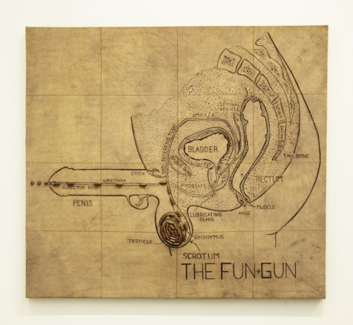 "artqueer:  Judith Bernstein | Fun-Gun | 1967 | Bullets and acrylic on distressed canvas | 57 x 60 inches ""Is this Judith Bernstein's moment? With her work now on display in two New York museums, the art world is finally catching up with this uncompromising artist… Using acrylic on bare canvas, Bernstein faithfully reproduces an anatomical drawing of the male pelvic region, but outfits the penis (erect, of course) with a hammer and trigger and a load of real ammo spiraling upward from the scrotum… If you're looking for the last word on male aggression, I think you've found it."" — Thomas Micchelli"