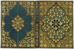 yama-bato:  A Jeweled Binding by Sangorski & Sutcliffe Alfred Lord Tennyson (1809–1892). The Lady of Shalott.  Manuscript on vellum, illuminated by Alberto Sangorski.[London: For the Grolier Society, c. 1910]. via