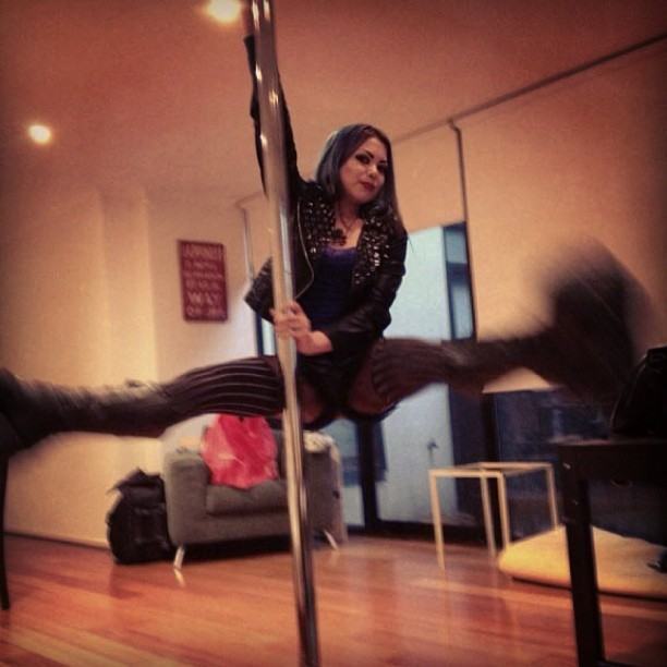 "Weeeeee!!! Derping on the #pole with 7"" platforms! #poledancing #straddle #exercise #fitness #fitspo #iworkout #splits"
