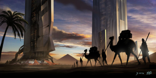 Another update on my sci-fi desert painting. Have added a larger structure in the background to give it more depth and been pushing the overall details.