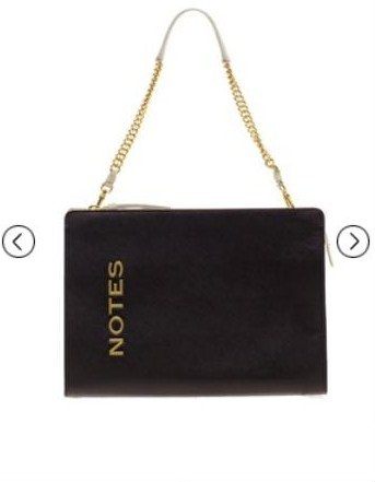 "Chic ""NOTES"" bag from Moschino."