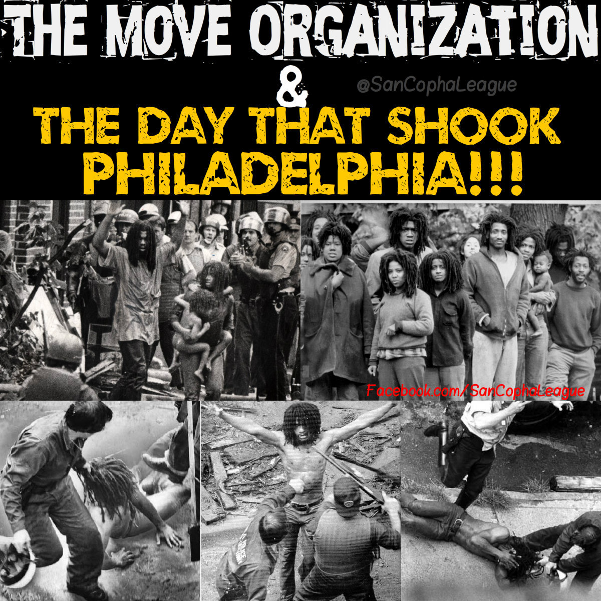 The Move Organization is a Black Liberation group from Philadelphia started by John Africa in 1972. According to the group, the word MOVE is not an acronym. It means exactly what it says: MOVE, work, generate, be active. Their philosophy is everything that's alive moves and If it didn't, it would be stagnant, dead. Movement is their principle of Life.  Self Defense is also one of their principles of life and On May 13, 1985 they definitely showed that. The confrontation began when police came to their house over 100 strong with guns aimed and demanded the MOVE members come outside. Still angry from the 1978 confrontation with police, which resulted in 9 MOVE members being sentenced to 30 to 100 years in prison, they refused. The police then began throwing tear gas and opening fire at the house. The MOVE house had been built as a bunker and they began shooting back. After hours of shooting, the Police called for a helicopter and dropped a BOMB on the house. Yup, you read right. The cops dropped a bomb in the midd