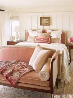 (via Pink Headboard - Small Space Design - House Beautiful)