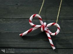 Check out the DIY Candy Cane Bow Necklace by Lines Across!  Image Credit: http://www.linesacross.com