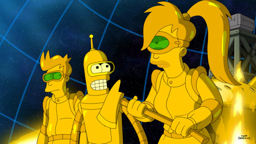 "Countdown to Futurama: Gold Fry, Bender and Leela Today's image comes from the upcoming episode, ""The Inhuman Torch"" and features Fry, Bender and Leela covered in gold. Not only is it a cool looking picture, but you can show it to an old-timey prospector and watch him freak out. The season premiere of Futurama airs June 19 at 10/9c."