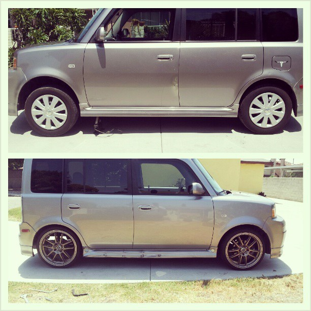 Before an after! From stock stolen rims to my old pair of @enkeiwheels #Jdm #BrokerLifeStyle #Enkeis