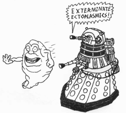 Day 366: On December 23, 2011, @DalekEmpress drew a Dalek Ghostbuster based on a comment I made. This drawing inspired me to start drawing the next month. Today's drawing is a tribute to that original drawing that inspired me, and is the DalekDraw that I have been planning ever since I first started. I have held off on drawing this for 366 days. This tribute is to thank our glorious Empress for inspiring me to draw. o)>  NOTE: This is the FINAL official DalekDraw. DalekDraw began on January 10, 2012 and was planned to run until January 9, 2013. Due to the leap year, that makes 366 days of DalekDraw. There are still two bonus draws that will be coming, along with two Padback draws. After that, drawings will still occur, but they will no longer be daily, and will be in whatever medium I feel like using, not exclusively gel pens on small paper.