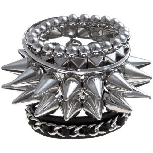 Silver Spike Stacked Bracelets   ❤ liked on Polyvore (see more bracelet jewelry)