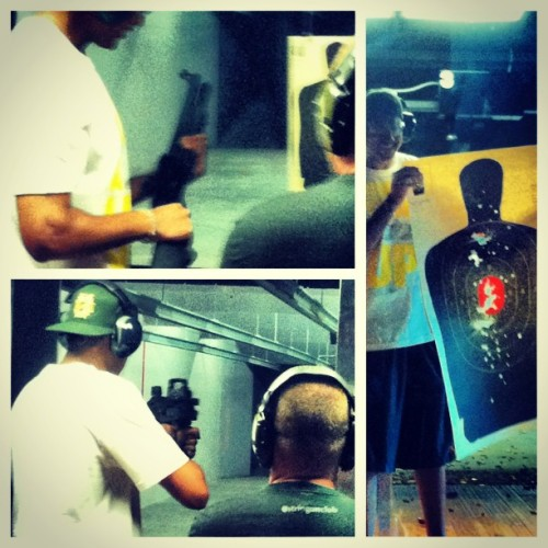 Went to the gun range. It was awesome. @stripgunclub #magnum #galil #UMP #loudasfuck #shotgun #headshot #boom #instamood