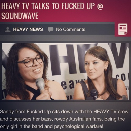 @dougfcknsteele and I chatted to sandy from #fuckedup for @heavy_mag at #soundwave check it out now! I don't know why I look so worries here she is rad! #heavymag #heavy #heavytv #music #musictv #tv #interview #sandy #sw #sw13 #soundwave #tour #australia #backstage