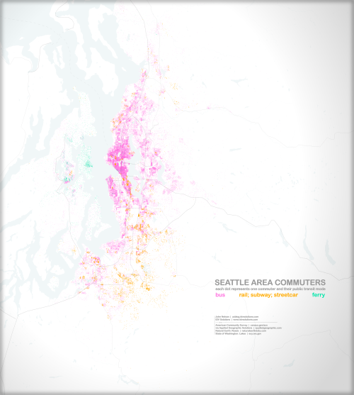 There's a great post on the visualizing Seattle area transit. In the graphic show here, each dot is one commuter and how they get around. See more on the idvsolutions UX blog.