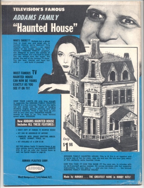 theswinginsixties:  The Addams Family Haunted House, Aurora Model Kit - 1965 advertisement.  that's cool!