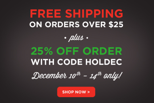 25% off your http://www.yestocarrots.com/ order + Free Shipping on orders over $25 with promo code: HOLDEC *Valid December 10th-14th!