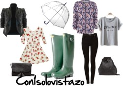 Outfit of the day 4 #ootd by con1solovistazo featuring a clear umbrellaLong shirt dress / Cheap Monday patterned skinny jeans, $76 / Mango bucket handbag / Mango  handbag / Clear umbrella / HISPANITAS BOTA ALTA AGUA GOMA VERDE, $64 / Bomber alcolchada estampado paisley, $52