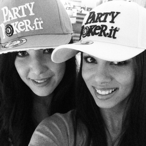 @violetdillon and I in our #partypoker #hats  #hashtag #girls #royalflushgirls #wptbaden #wpt #poker #play #game #blackandwhite #instagood #instamood #instadaily #instahappy #igaddict #igdaily #picoftheday #photooftheday #iphonesia #iphone5 #love #lol  (at Imperial Riding School Lobby bar)
