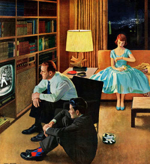 rogerwilkerson:  Date With The Television, art by John Falter.  Detail from Saturday Evening Post cover April 21, 1956.