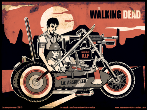 Poster Art: The Walking Dead jasonquinonessketchbook:  My rebooted version of The Walking Dead storyline featuring a battle hardened, adult Carl Grimes and his little sister Judith, alone and roaming an apocalyptic wasteland Lone Wolf and Cub style.