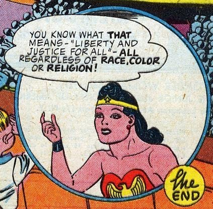 "godstaff:  ""Regardless of RACE, COLOR, or RELIGION!"" is a pretty huge thing to say in 1944.  All Star Comics - DC Comics"