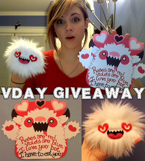 loveandasandwich:  Valentines Day Giveaway!You could win a papercut valentine & a little monster!To enter simply comment on my Facebook post.  You can gain extra entries by retweeting (@loveandsandwich), reblogging, or sharing this on any other social media site.Love grumps need not enter!  I'll be choosing the winner on the 20th!  want