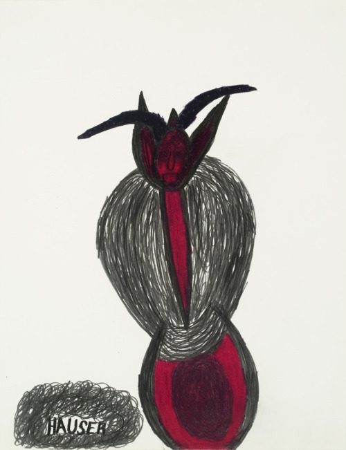 Johann Hauser  Untitled, (Krampus) Graphite and archival pigment marker on paper L 30.5 in.  H 39.4 in. (100 x 70 cm) VIA