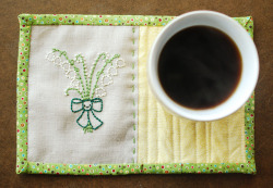 soaring-imagination:  Lily of the Valley mug rug (tutorial) by Mollie of Wild Olive.
