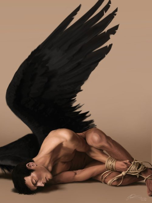 thelittleskribbler:  Naked Cas tied up and with wings - what a combination holy! I got really inspired by a photography I saw yesterday and that's the result.