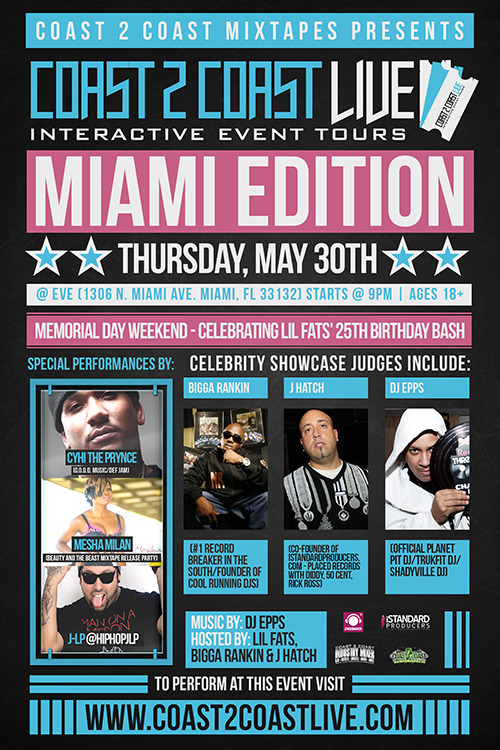 @BiggaRankin00 will be on the #JudgePanel at the @Coast2Coast Mia Mixer Thurs 5/30 w/ #LilFats n @DJEpps