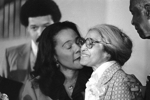 theybc:  Coretta Scott King, Rosa Parks: Black History Photo Of The Day (2/6/13)  Today's photo was taken on January 14, 1980, showing Coretta Scott King giving Rosa Parks a kiss on the cheek as Parks received the Martin Luther King, Jr. Non-violent Peace Prize in Atlanta. Parks, who was the first woman to receive the award, was also honored by the U.S. Postal Service this week with a postage stamp commemorating her 100th birthday.