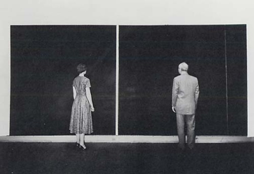 b22-design:  Barnett Newman and an unidentified viewer with 'Cathedra'  Newman's studio - 1958  - Photo Peter A. Juley