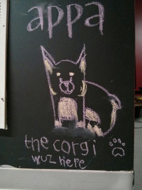 Appa the chalk drawing at the lab!