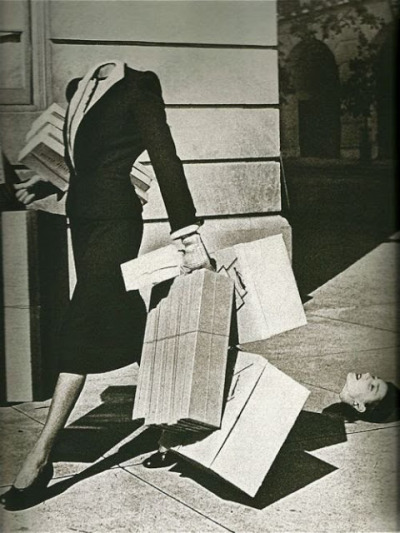 """Surreal Shopper"" photograph by Herbert Matter, Harper's Bazaar 1939."