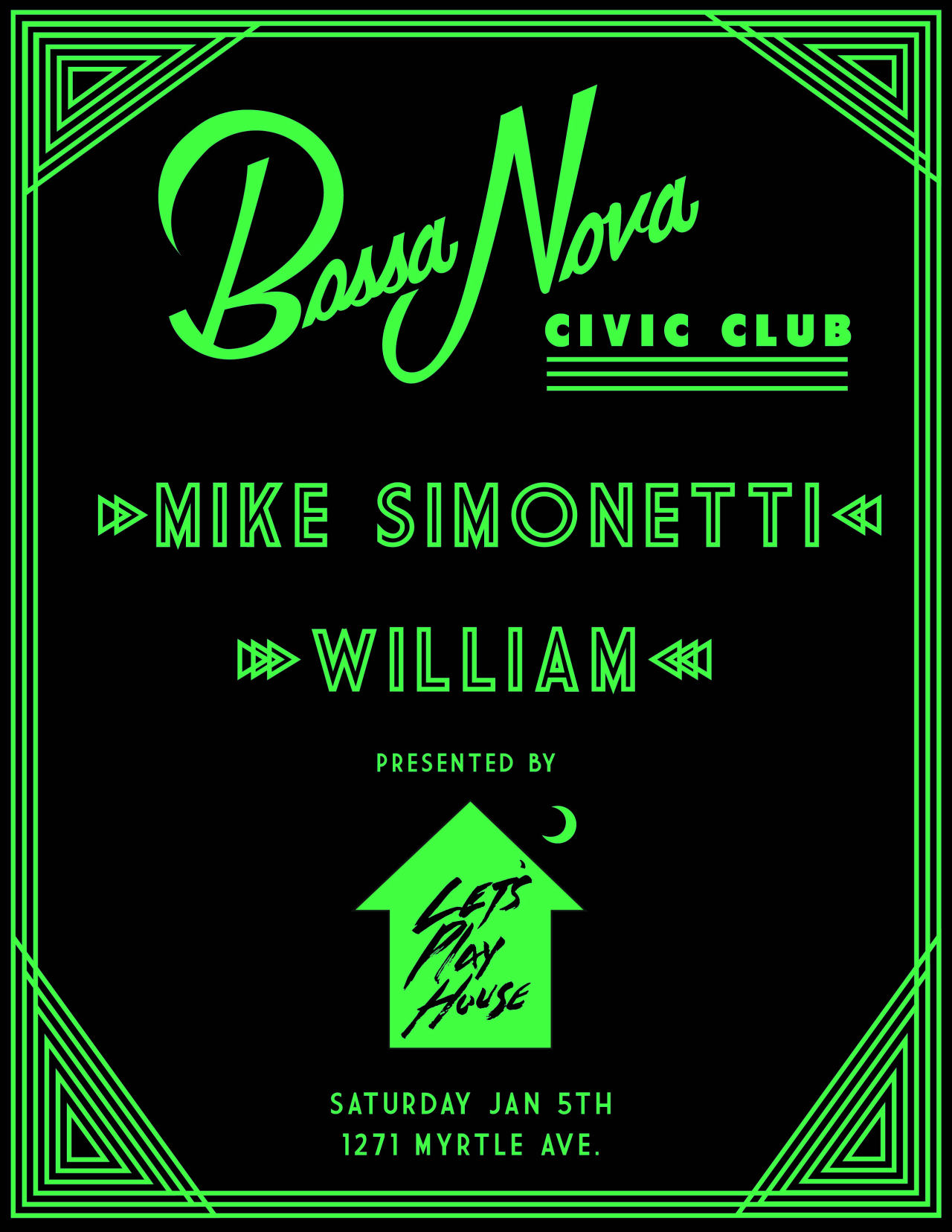 Tomorrow night, we're back at Bossa Nova Civic Club! Joining us this time is the esteemed founder and owner of Italians Do It Better, Mike Simonetti, as well as our good friend, William, of Fac Off fame. A very special guest will be spinning records, too, so come on out and do it up right with us!