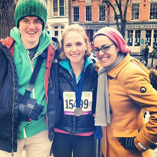 At the #nychalfmarathon finish line with 2 of my favorite people! #tommy #amanda