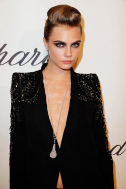 prettygirlsandbourbon:  (via Cara Delevingne Suits Up in Roberto Cavalli at the Chopard Trophy Event in Cannes | Fashion Gone Rogue: The Latest in Editorials and Campaigns)