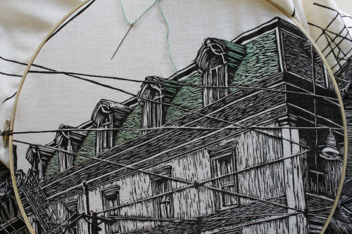 amanda-ink:  working on a copper roof… woodcut & embroidery