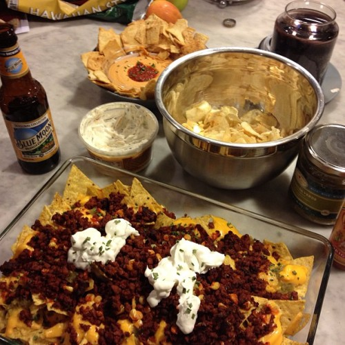 #soy #chorizo nachos with corn, salsa verde, chipotle powder, and three cheeses. Just for @nogodsnocameras  and me, which happens to be the #superbowl.