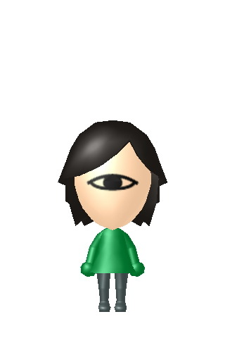 oh yeah of course I made a buncha Miis right off the bat. Kari is NK's, but I figured why not make her too. I made Spord with the help of a youtube video on how to make cyclops miis. tho when doing any expression that isn't the default, yeaaah, the face looks all fucked up. YEP