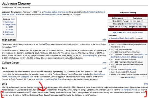 Jadeveon Clowney's Wikipedia page was updated after his hit on Vincent Smith.