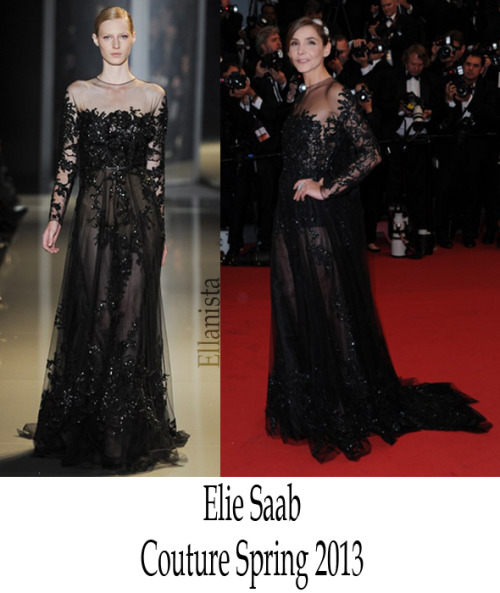 Cannes Film Festival  Clotilde Courau wore a black Elie Saab Couture long sleeve gown with embroidered lace guipure detail to the opening ceremony of 'The Great Gatsby.'