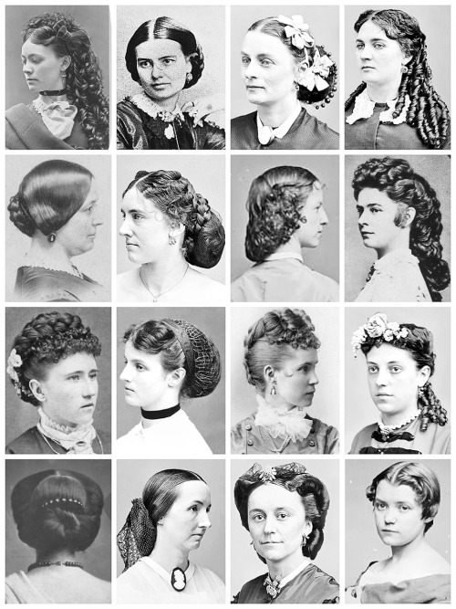 thevintagethimble:  Victorian HairstylesA collection of Victorian photographs ranging from 1855 - 1880's.  Edwardian Hairstyles Here [x] | 1920's Hairstyles Here [x] | 1930's Hairstyles Here [x]