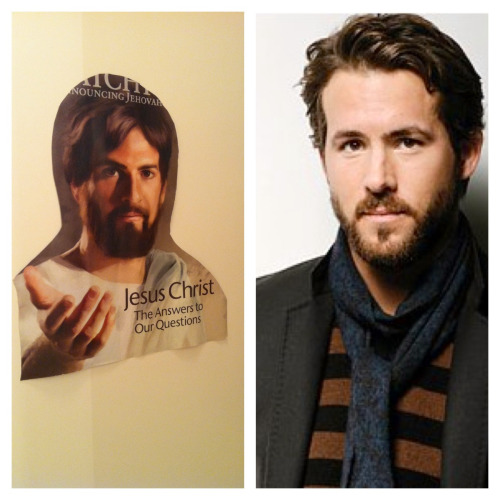I cutout a picture of Jesus and taped it inside my bathroom cabinet because is reminds me of Ryan Reynolds. Judge me.