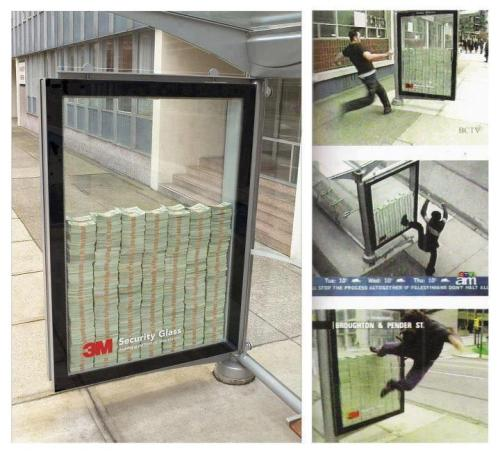 Bulletproof glass manufacturer 3M Security Glass placed this advertisement at a bus stop. There's apparently $3 million in cash inside there, behind their bulletproof glass. If you can break it, it's yours.