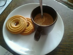 A good end of lunch :) coffee with vanilla rings