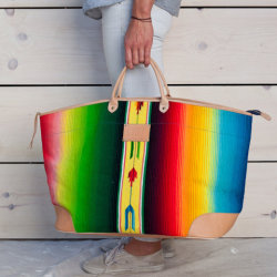 Wannahave ~ funky colorful Mexican blanket travelbag